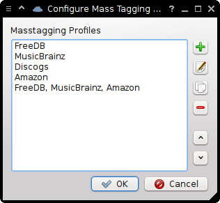 Masstagging Profile choosing dialog.