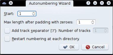 Track numbering wizard.
