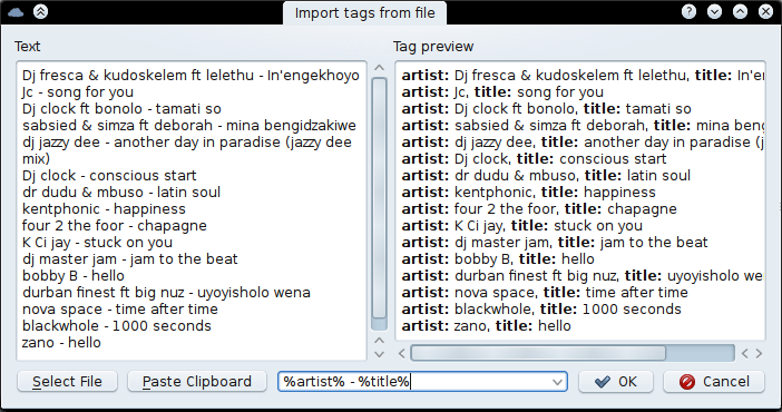 Using the Import File dialog to import a text file and convert it to tags.